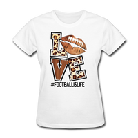Love Football, Football is Life, Football Fan, Animal Print Women's T-Shirt - white
