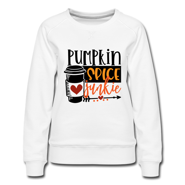 Fall Sweatshirt, Pumpkin Spice Junkie - Women's Premium Sweatshirt - white