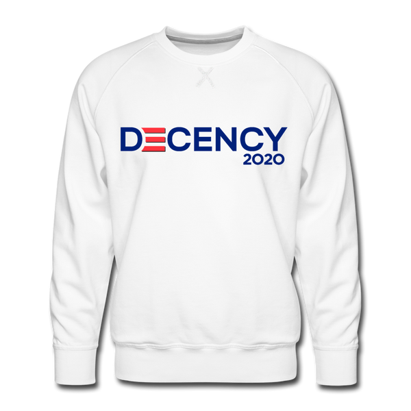 Vote Men's Sweatshirt, Decency 2020, Joe Biden, Kamala Harris - white
