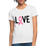 Cancer Awareness Shirt. Love Pink Ribbon Cancer Shirt - white