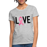 Cancer Awareness Shirt. Love Pink Ribbon Cancer Shirt - heather gray