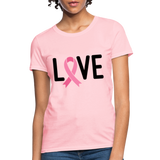 Cancer Awareness Shirt. Love Pink Ribbon Cancer Shirt - pink