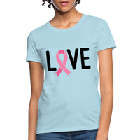 Cancer Awareness Shirt. Love Pink Ribbon Cancer Shirt - powder blue