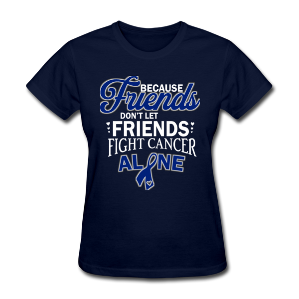 Colon Cancer Ribbon Shirt, White Lettering - navy