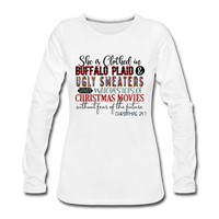 She is Clothed in Buffalo Plaid and Ugly Sweaters, Vintage Sport T-Shirt Long Sleeve T-Shirt - white