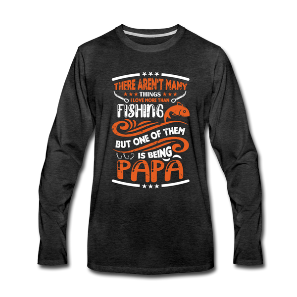 Fishing Papa, Fishing Grandpa, Fishing Gifts for Men - charcoal gray