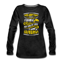 Fidhing Grandma Shirt, Funny Fishing Shirt for Women - charcoal gray