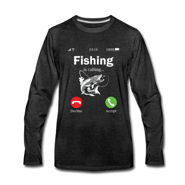Fishing is Calling Shirt, Funny Fishing Shirt for Men - charcoal gray