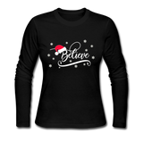 Believe, Slim Fit Jersey T-Shirt, Christmas Pajama Shirt - black