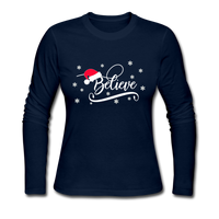 Believe, Slim Fit Jersey T-Shirt, Christmas Pajama Shirt - navy