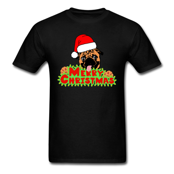 Merry Christmas Pug Shirt, for Pug Lover - black