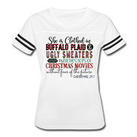 She is Clothed in Buffalo Plaid and Ugly Sweaters, Vintage Sport T-Shirt - white/black