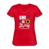 She is Strong, Proverbs 31 Woman V Neck T-shirt - red