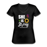 She is Strong, Proverbs 31 Woman V Neck T-shirt - black