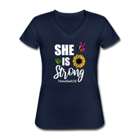She is Strong, Proverbs 31 Woman V Neck T-shirt - navy