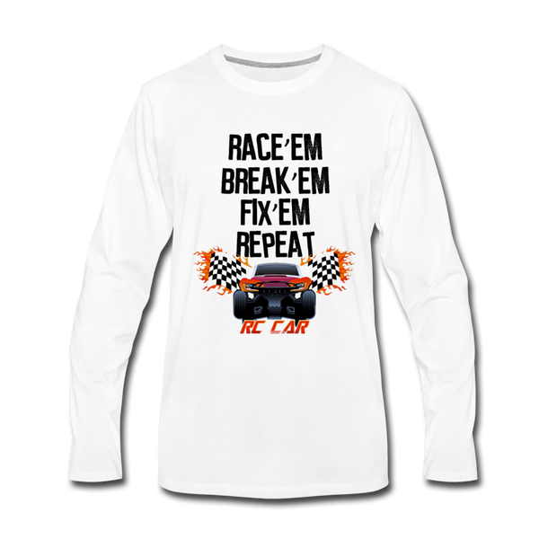 Race'em Break'em Fix'em Repeat, RC Car Shirt - white