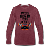 Race'em Break'em Fix'em Repeat, RC Car Shirt - heather burgundy
