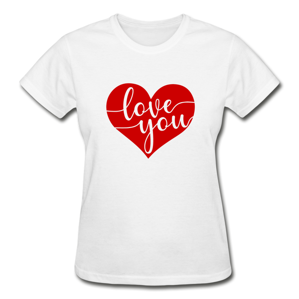 Valentines Day Love You Shirt - white