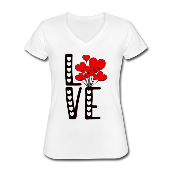 LOVE Heart Balloons Valentines Day V-Neck T-Shirt - white