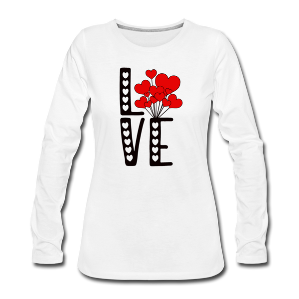 LOVE Balloons Valentines Day Long Sleeve T-Shirt - white
