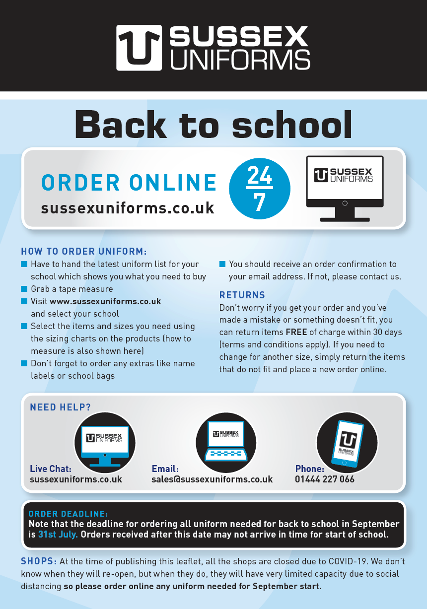 Sussex Uniforms Back to School Guide 2020