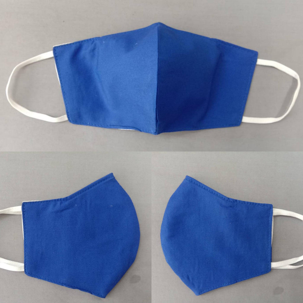 KIDS blue - 3 layer Muslin cotton mask with filter pocket