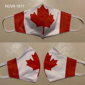Canada flag facemask reusable washable made from NUVA 1811 silk cotton