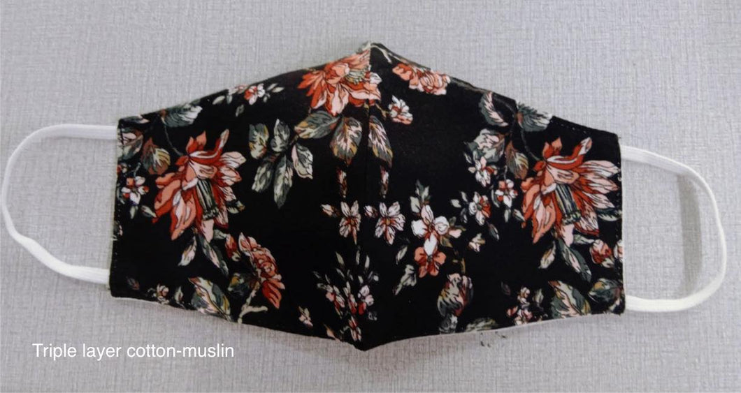 Black floral -  3 layer Muslin cotton mask with filter pocket