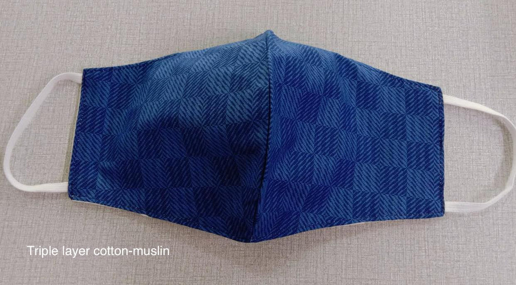Blue Herringbone - 3 layer Muslin cotton mask with filter pocket