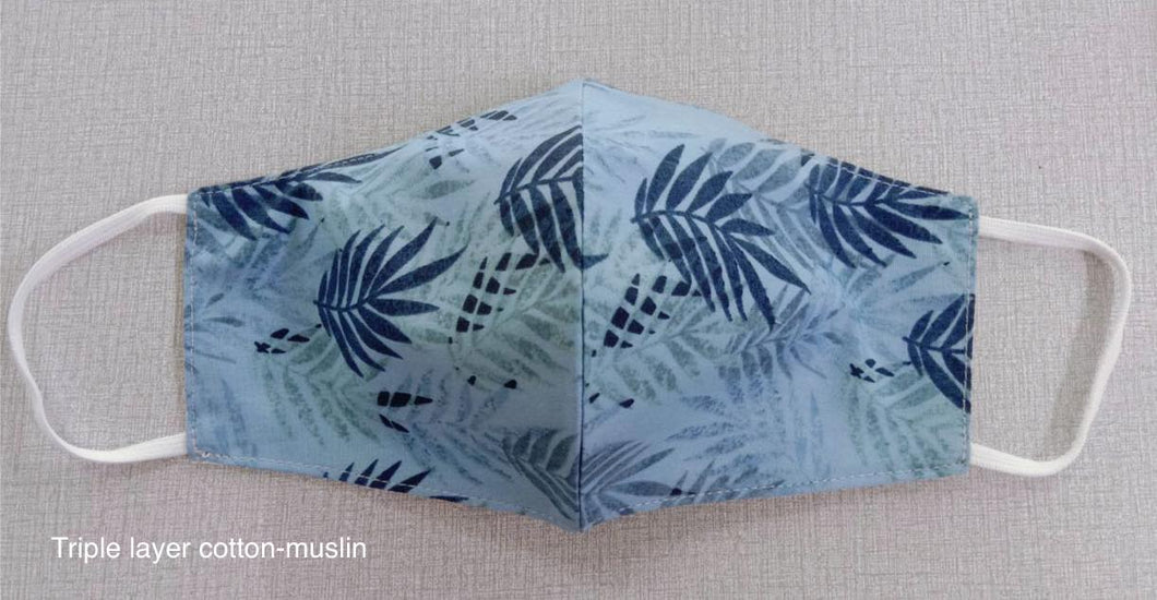 Blue fern - 3 layer Muslin cotton mask with filter pocket