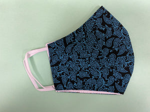 Black Paisley -  3 layer Muslin cotton mask with filter pocket