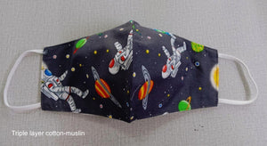Outer space triple layer reusable washable facemask made from muslin cotton