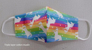 Unicorns -  3 layer Muslin cotton mask with filter pocket
