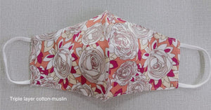 White roses - 3 layer Muslin cotton mask with filter pocket