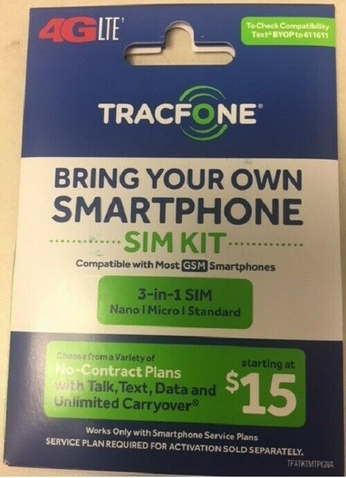 Tracfone BYOP 3-1 sim Loaded 1 month 200Min
