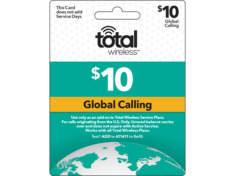 Total Wireless Global Add-On Pin credit