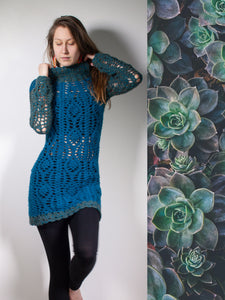 TEAL MOON | Dark turquoise wool tunic with turtle neck and long sleeves | S
