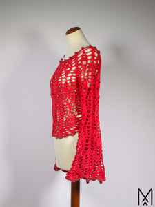 MOONFLOWER | Bell-sleeve crochet lace top in bright red | S/M
