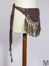 Load image into Gallery viewer, MEDINE POUCH | Dark brown leather crochet belt bag with fringes | One size