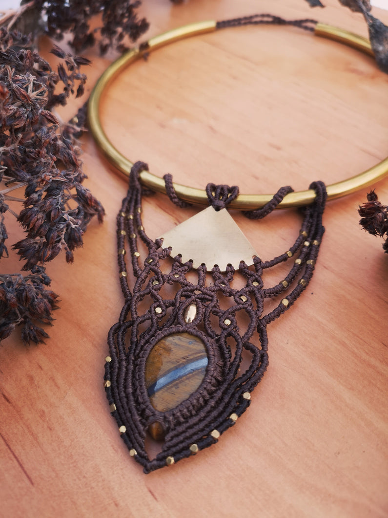 Tiger's Eye macrame statement necklace with brass collar