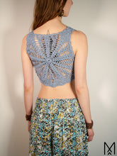Load image into Gallery viewer, LILJA Short | Sky blue organic crochet crop top with mandala back | S/38
