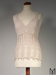 LILJA Long | Organic crochet top with mandala back | M/38