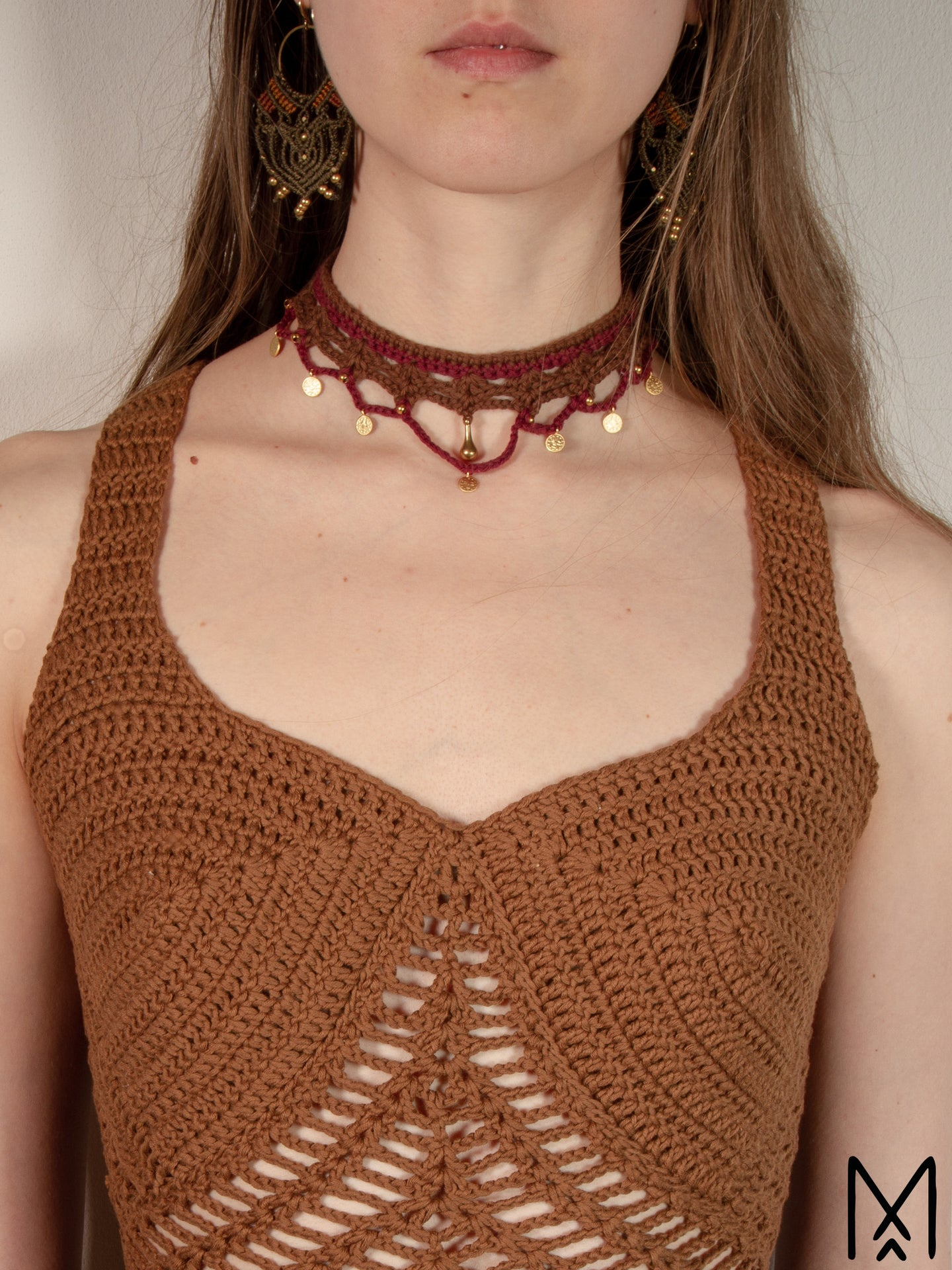 FAE | Burgundy brown choker necklace with brass beads