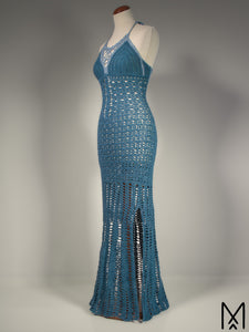 NAIAD | Teal blue full-length lace dress with a side slit | XS/S
