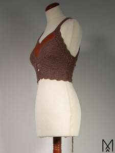 NILA | Made to order | Bamboo cotton crochet crop top with leather neckline