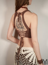 Load image into Gallery viewer, NILA | Made to order | Bamboo cotton crochet crop top with leather neckline