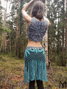 LILJA Short | Sky blue organic crochet crop top with mandala back | S/38