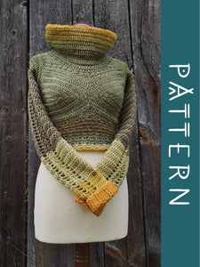 NUPPU | PDF pattern | Cowl neck cropped sweater with flower bud details