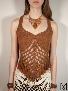 ROOT | Organic crochet top with fringe hem