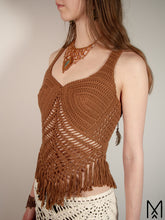 Load image into Gallery viewer, ROOT | Organic crochet top with fringe hem